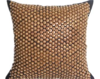 Beaded Pillow Beige Blue Beaded Pillow 20x20 Beaded Pillows Beaded Cushion Beaded Decorative Pillow Beaded Accent Pillow Beaded Throw Pillow