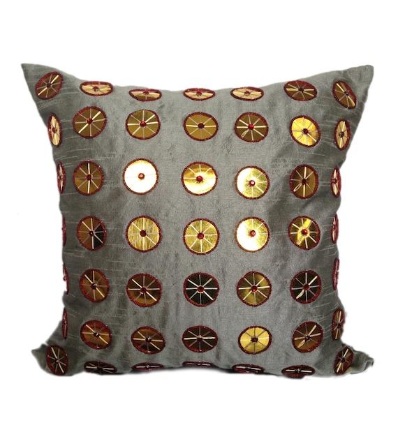 Beaded Grey Throw Pillow : Grey Beaded Pillow Grey Gold Beaded Pillow Cover Grey
