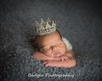 Newborn  Crown || Lace Crown || Baby Pictures|| Photography prop || Princess Crown || Prince Crown || Maternity Photo Prop