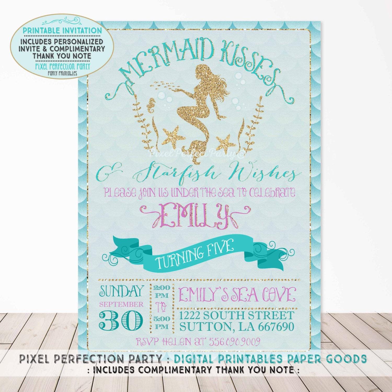 Mermaid Invitation Mermaid Birthday Invitation Mermaid Kisses