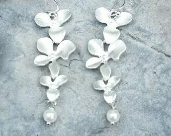 Wedding Earrings - Orchid Cascading Earrings - Pearl - Silver - Wedding Jewelry Set - Orchid earrings - Bridesmaid Jewelry - Flower Necklace