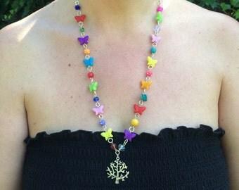 Mixed Rainbow Beaded Necklace with Tree Charm