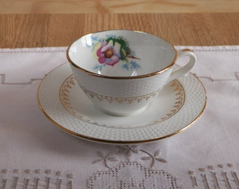 Teacup with saucer porcelain | Decor Fleuri with edgings of gold | Tableware France Vintage 1960