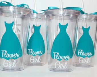 4 Flower Girl Tumblers - Will You Be My Flower Girl? Flower Girl Personalized Tumbler, Flower Girl Cup -16 oz Tumblers