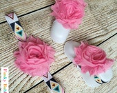 Baby Barefoot Sandals & Headband Gift Set -Pink/Navy Aztec Print- Soft Baby Flower Shoes - Newborn Shoes - Baby Shower Gift - Photo Props