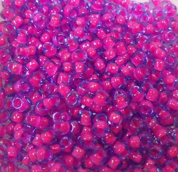Toho seed bead size 8 dark pink lined aqua 20gr by ladybugbeadsstl