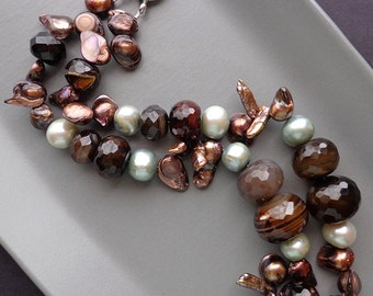 HILLARY - Brown and Grey Semiprecious Mix Stone Necklace