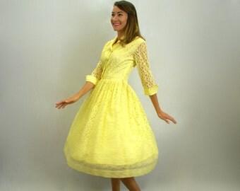 Vintage 50s Yellow Lace Dress | Mid Century Party Dress, Medium