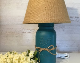 Mason Jar Lamp distressed in Teal with Burlap Shade