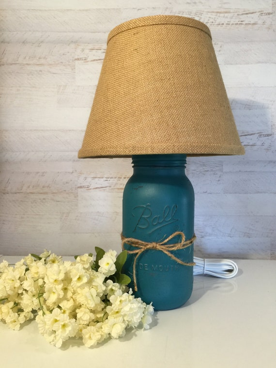mason jar lamp distressed in teal with burlap shade. Black Bedroom Furniture Sets. Home Design Ideas