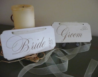 Wedding Chair Signs, Bride and Groom Wedding Sign, Shabby Chic Sign, Wooden Sign, Wedding Decor, Photo Prop