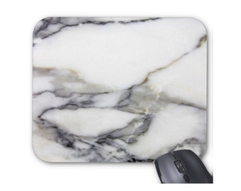 Gray & White Faux Marble Mouse Pad, Grey Stone Veined/Marbled Printed Image Mousepad