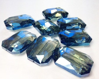 34mm Glass Crystal in dark blue - faceted crystals for jewelry creation, bangle making