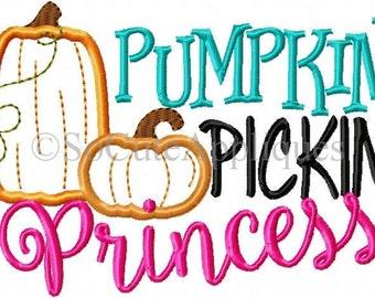 Embroidery design 5x7 6x10 Pumpkin pickin Princess, Halloween embroidery, pumpkin applique, socuteappliques, fall embroidery applique