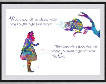 Alice in Wonderland and Cheshire Cat Watercolor Print Archival Fine Art Print Children's Room Decor Home Decor Wall Hanging