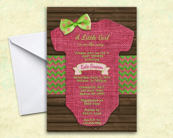 girl baby shower invitation onesie invitations burlap baby shower