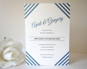 Navy Blue Program - Wedding Ceremony Programs, Modern Wedding Programs, Modern Programs, Blue, Stripes - DEPOSIT