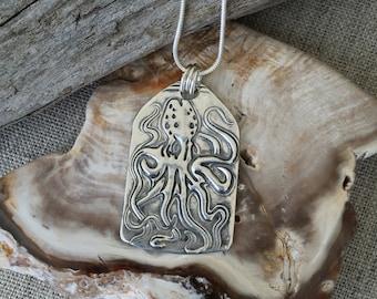 Octopus Fine Silver Pendant