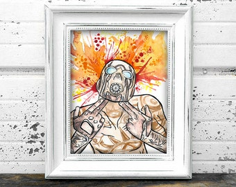 Borderlands Psycho Inspired Art Print Watercolor 8x10 Video Game Painting Digital Illustration Archival Inkjet Wall Art Decor Glossy Matte