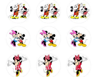 "Mickey & Minnie Mouse bottle cap Images 1"" Digital Collage Sheet 4x6"" Instant download jpeg, Hair Bow Centers, Stickers, Magnets, etc.."