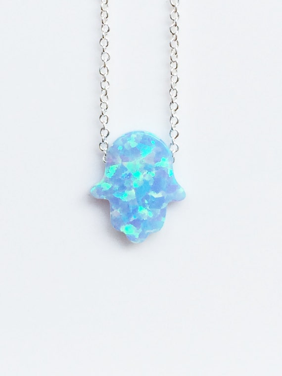 Opal hamsa necklace in 925 sterling silver chain, Safe to wet, Priced to grab