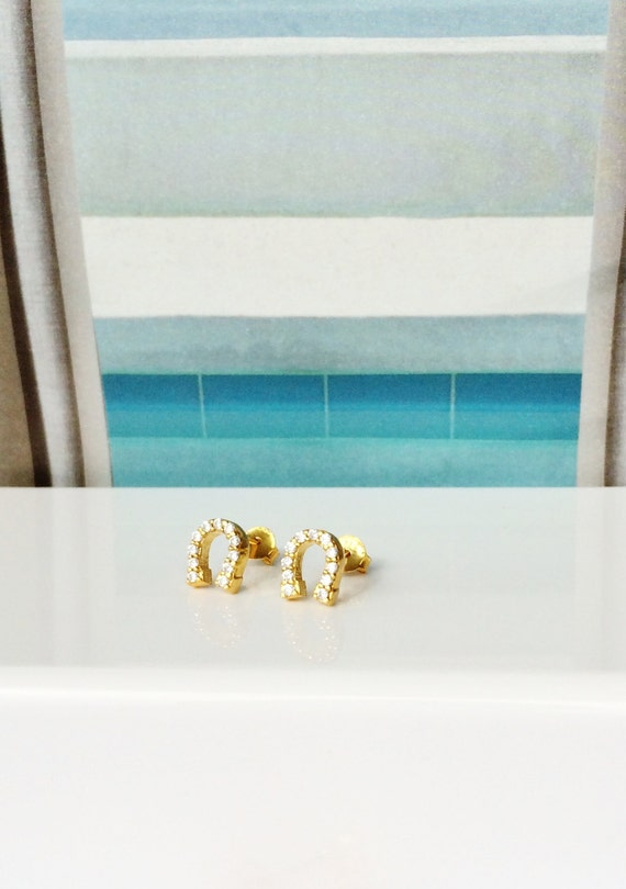 cz horseshoe earrings in gold plated sterling silver, can get wet, NOW ON SALE