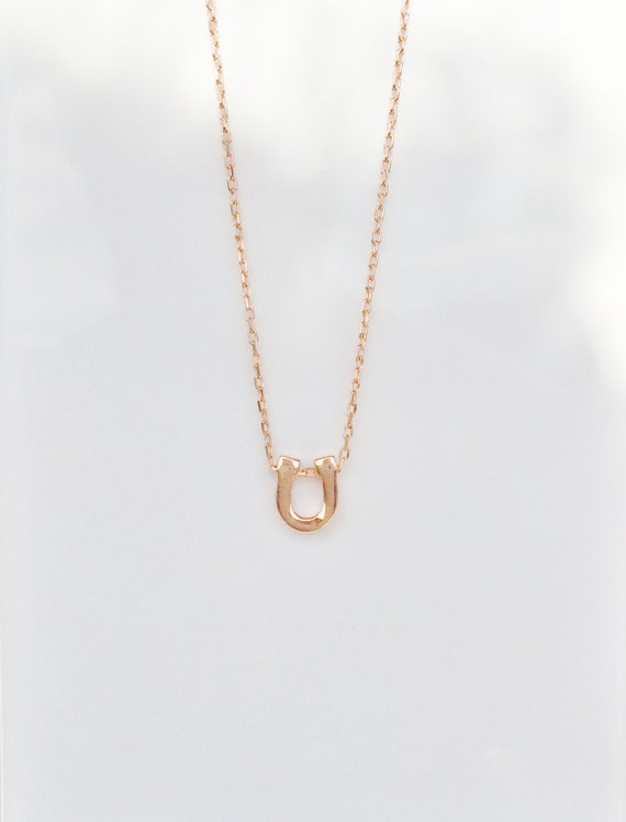 horseshoe necklace rose gold plated sterling silver SPECIAL LOW PRICE