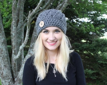 The Jane Hat/ Crochet/ Handmade/ Button/ Swirl/ Warm/ Winter/ Trendy