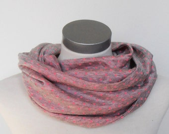 Infinity scarf grey with pink dots, infinity loop, Tube scarf, infinity scarf, circle scarf, round scarf, winter scarf, gift idea
