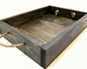 Dark Stained Rustic Wooden Tray with Rope Handles, Handcrafted Serving or Decorative Centerpiece Tray, Wooden Ottoman Tray, Breakfast Tray