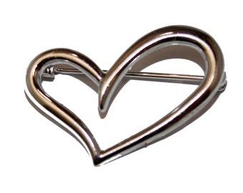 Heart Brooch  .925 Sterling Silver - Heart .925 Sterling Silver Pin