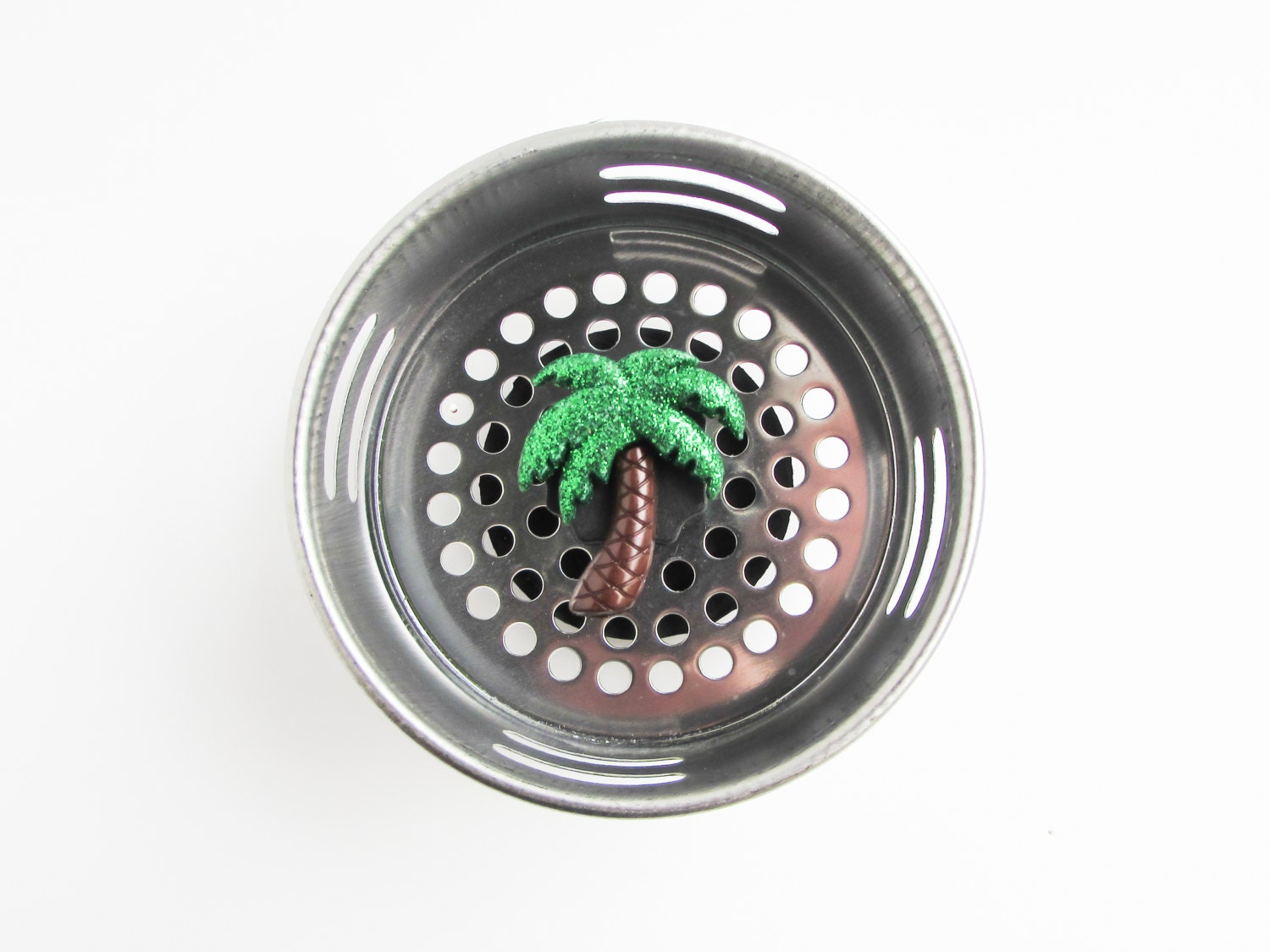 Sink strainer palm tree tropical decor by accessoriesbyash on etsy - Decorative kitchen sink strainers ...