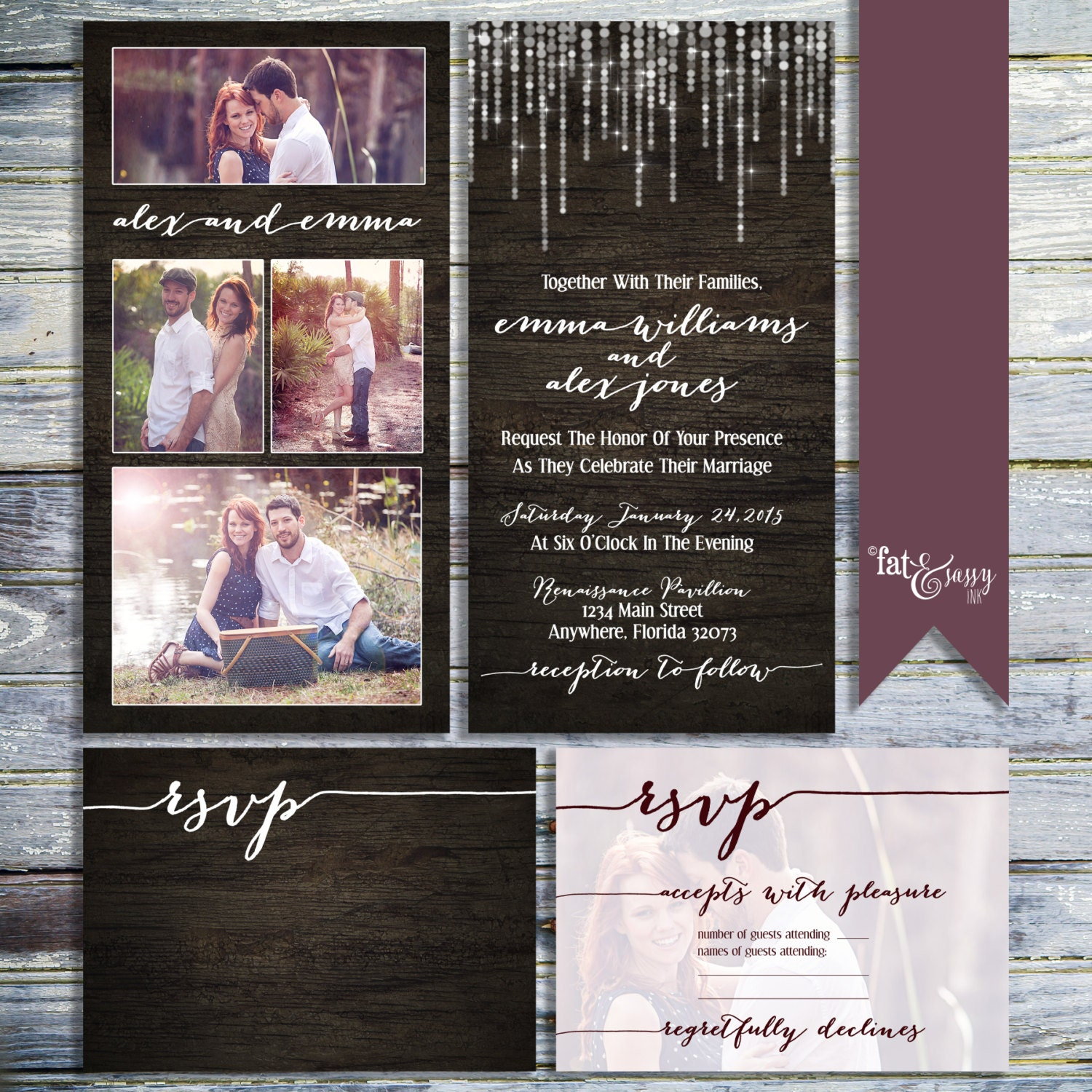 Photo Collage Wedding Invitation Rustic Wedding Invitation