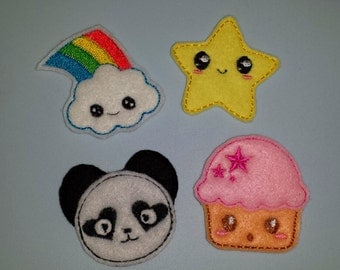 Pack of 4 designs. Includes Cute kawaii rainbow cloud, Panda, cupcake and star happy face patterns embroidery design files