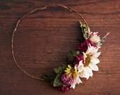 "55% OFF - Rustic Asymmetrical Floral Crown, Half Flower Crown, Marsala, Ivory,Fall Wedding, Boho Wildflowers, Autumn Wedding, ""Linda"""