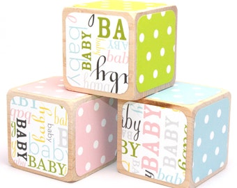 Baby Shower Gift - Wooden Baby Blocks - Pink, Blue, and Green Blocks - Baby Shower Decor - 2 Inch