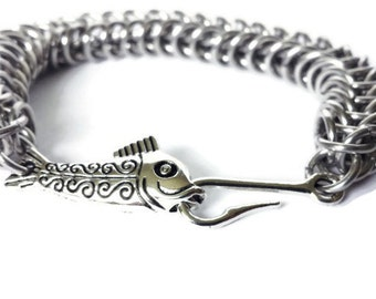 Fish Hook Bracelet  - Fishing Bracelet - Cool Mens Gifts - Chainmaille Bracelet - Father's Day Gift - Men's Custom Jewelry - Men Gifts
