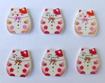 6 Red Plutus Cat Butons - 2 Holes  - #SB- 00139