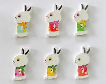 6 Rabbit Buttons - Bunny Buttons - Easter Buttons -  Quilting Buttons - Sewing Buttons - Embellishments - #E-00012