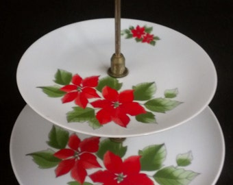 2 Tiered Poinsettia Presentation Stand, Cake Stand, Sandwich Stand, Cupcake Stand (553)