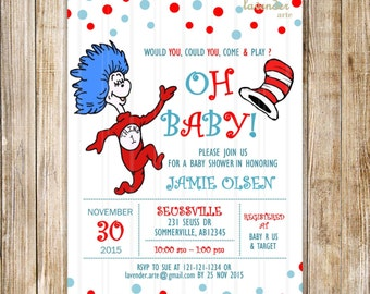 Dr Seuss Baby Shower Invitation, Dr Seuss Cat in the Hat Party Invite, Dr Suess Baby Boy Baby Girl Shower Invite, DIY Digital Printable