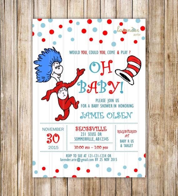 Dr Seuss Baby Shower Invitation Dr Seuss Cat in the Hat Party – Cat in the Hat Party Invitations