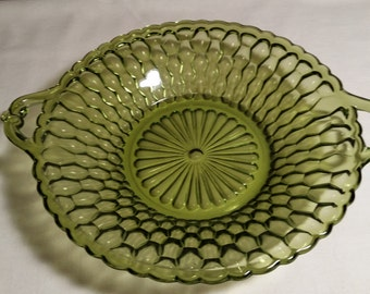 Indiana Glass Honeycomb Pattern Olive Green Bowl~Candy/Trinket Dish With Handles