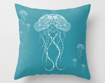 Nautical Jellyfish Pillow - Personalized Color - 13x13 16x16 18x18 -  Teal Aqua Marine Sea Coastal Ocean Fish Beach Ocean Gift Throw Cushion