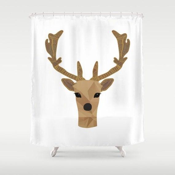 Deer Shower Curtain Brown Bath Decor Antler Alpine Chic Decor Rustic ...
