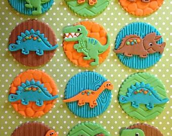 12 Dinosaur Cupcake Toppers - Edible - Fondant - Birthday - Baby Shower - T-Rex - Stegosaurus - Triceratops - Brontosaurus