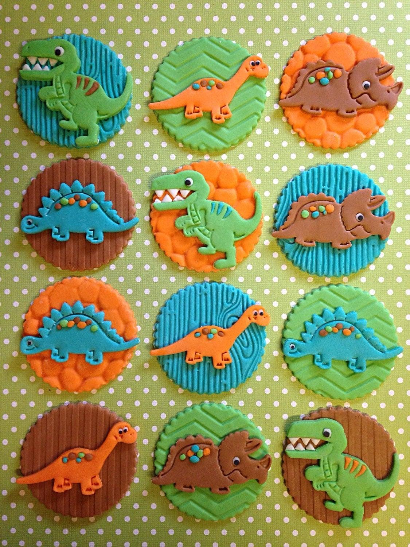 12 Dinosaur Cupcake Toppers Edible Fondant Birthday