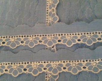 2 Yards 3 Colors BLUE Lace Trim Scalloped Eyelet Lace Trim 1 Inch Wide Polyester