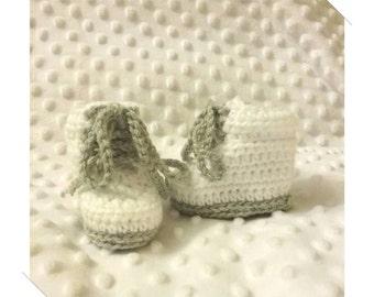 Newborn Baby Crocheted White & Grey Combat Boots 8cm Sole