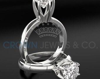 Solitaire Diamond Engagement Ring 14 Karat White Gold D SI Round Brilliant Cut 1 Carat Women Diamond Ring
